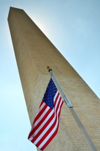 Looking up at the Washington Monument