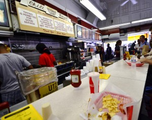 View from a counter seat at Ben's Chili Bowl