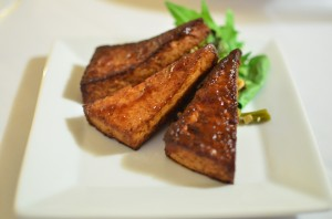 Caramelized tofu triangles with charred broccoli rabe