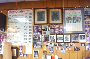Menu board and some of the photos on the wall