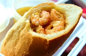 The constructed BBQ shrimp po' boy