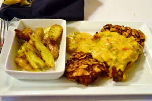 Zapp's Crawtator crusted Louisiana drum with crawfish cream sauce, and a side of duck fat fingerling potatoes