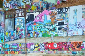 Walls of graffiti