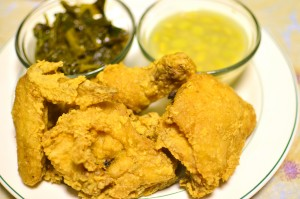 Country fried chicken with collard greens and butter bea