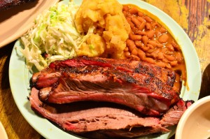 Combo plate with brisket and pork ribs