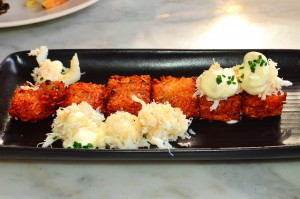 Dungeness crab tater tots