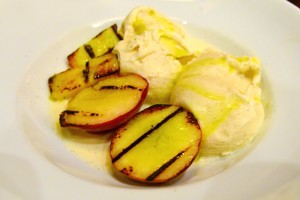 Grilled peaches with vanilla gelato, olive oil, and sea salt