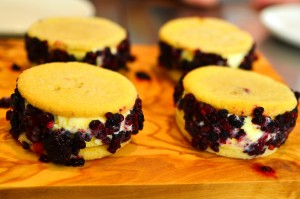 Sweet corn ice cream sandwiches