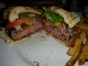 Pub burger with swiss cheese and bacon