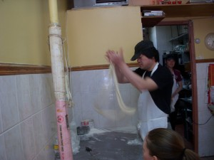 Hand pulling noodle man