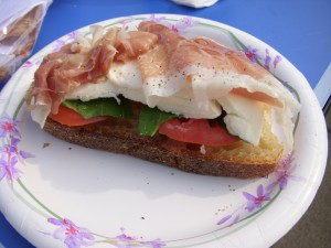 Prosciutto, mozzarella, fresh basil and tomato on Sullivan St. bread