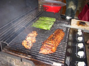 Chicken, asparagus, and more ribs on the grill