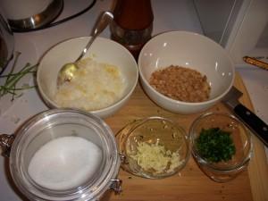 Salt, grated parmesan, lemon zest, bread crumbs, parsley, and garlic