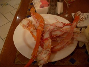 Sad king crab and snow crab legs