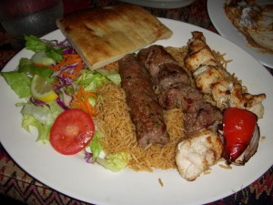 Combo kebab with beef kafta, lamb tikka, and chicken