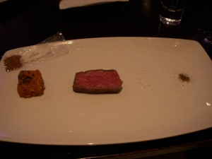 Wagyu beef with powdered A-1, potato, and chips