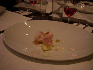 Rhubarb with goat milk and onion on top of the lavender air pillows (so that the scent released while you ate the dish)