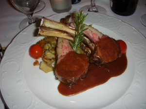 Rack of lamb with olive sauce