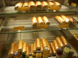 Assortment of baguette sandwiches