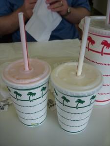 Strawberry and vanilla shakes