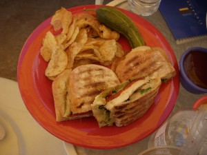 Grilled chicken panini with pesto