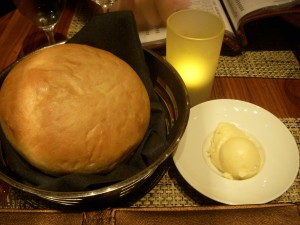 Soft chewy bread with sweet truffle butter