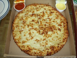 Cheesesticks with pizza sauce and garlic sauce