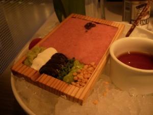 Tartare condiments - wasabi, crème fraiche, nori paste, chives, avocado cream, and rice cracker crumbs