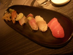 Unagi (eel), red snapper, Boston mackerel, silver whiting, and toro sushi