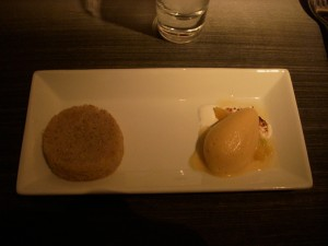 Steamed almond cake with apricot ice cream