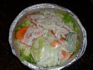 Salad with minty yogurt dressing