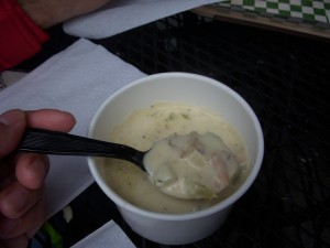Clam chowder close up