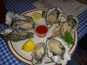 Fresh and briney raw oysters