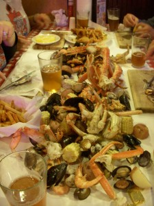 Crazy amount of seafood dumped in the middle of the table