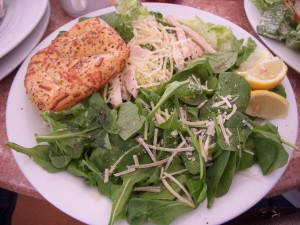 Arugula with parmesan and chicken caesar salad