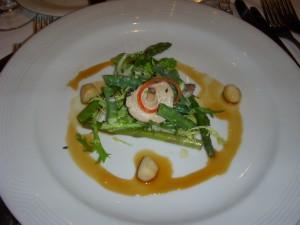 Asparagus, bay scallops, shiitake mushroom, miso vinaigrette