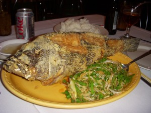 Deep fried sea bass with ginger