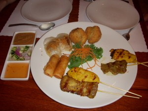 Wondee Sampler with two chicken sates, two beef sates, two thai spring rolls, two curry puffs, and two steamed vegetable dumplings