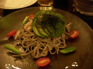 Soba salad with very unripe avocado slices