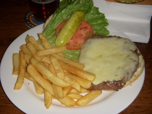 Burger with swiss cheese