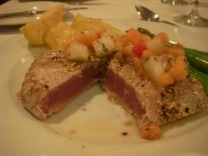 Perfectly rare seared yellowfin tuna