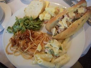Penne alfredo, spaghetti bolognese, linguini pesto, french bread, potato salad, chicken salad sandwich