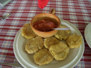 Fried green bananas with salsa - a great appetizer