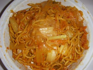 Hot and spicy noodles with kimchi
