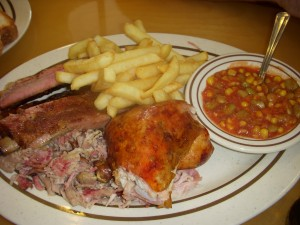 Chicken, chopped pork, St. Louis style ribs, french fries, Brunswick stew