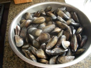 Huge bowl of mussels ready to be cooked