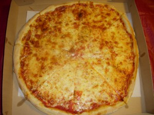 "Large cheese pizza ""well done"""