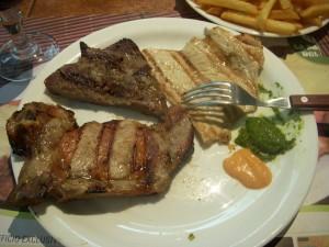 Pork chop, beef, chicken, sauces