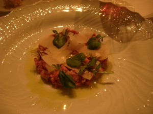 Carne cruda with truffle and parmesan