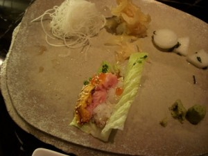 Lettuce wrap with rice, toro, ikura and uni
